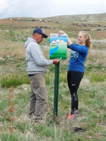Town of Granby, Colorado and Interact of Middle Park High School install Adopt a waterway signs